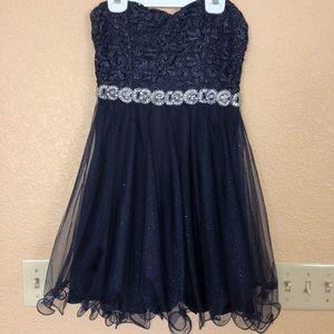 Short navy blue, strapless homecoming/formal dress
